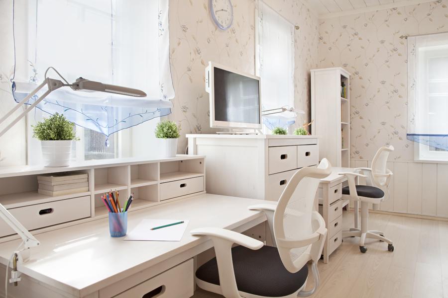 Modern interior of schoolroom in sunlight closeup